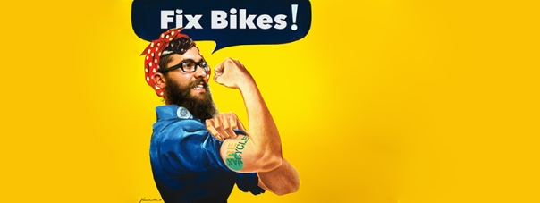 Rosie the Riveter photoshopped with a bearded man.
